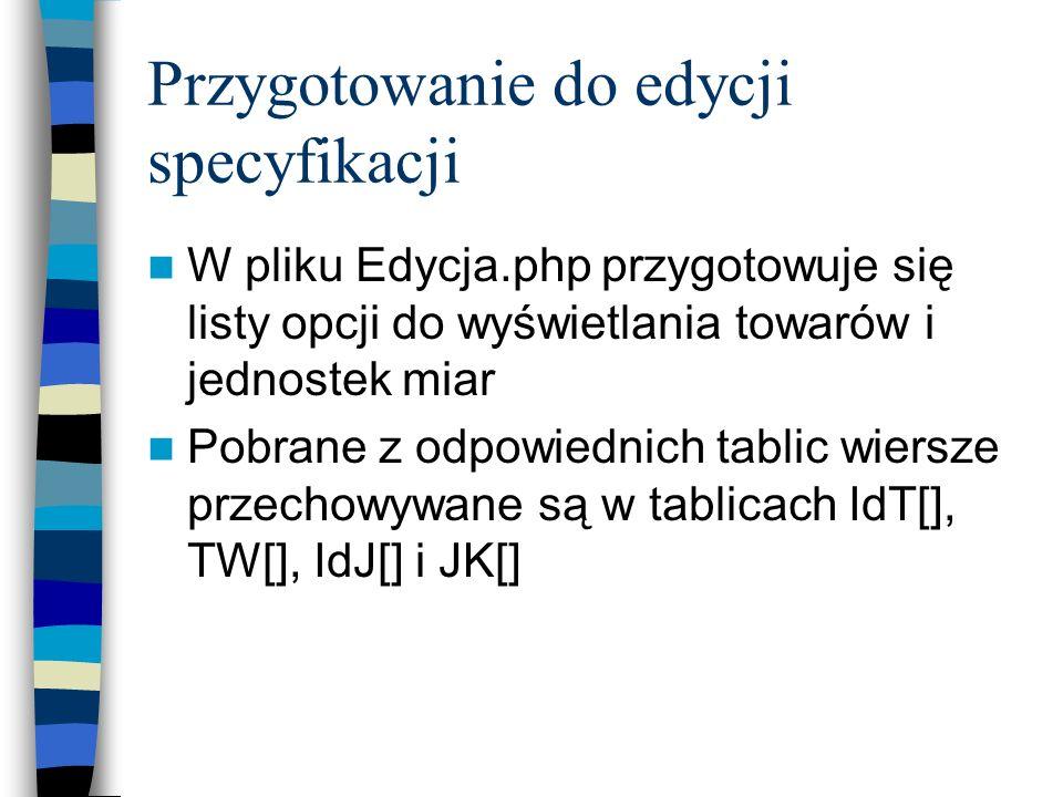 Przygotowanie do edycji specyfikacji W pliku Edycja.php przygotowuje się listy opcji do wyświetlania towarów i jednostek miar Pobrane z odpowiednich t