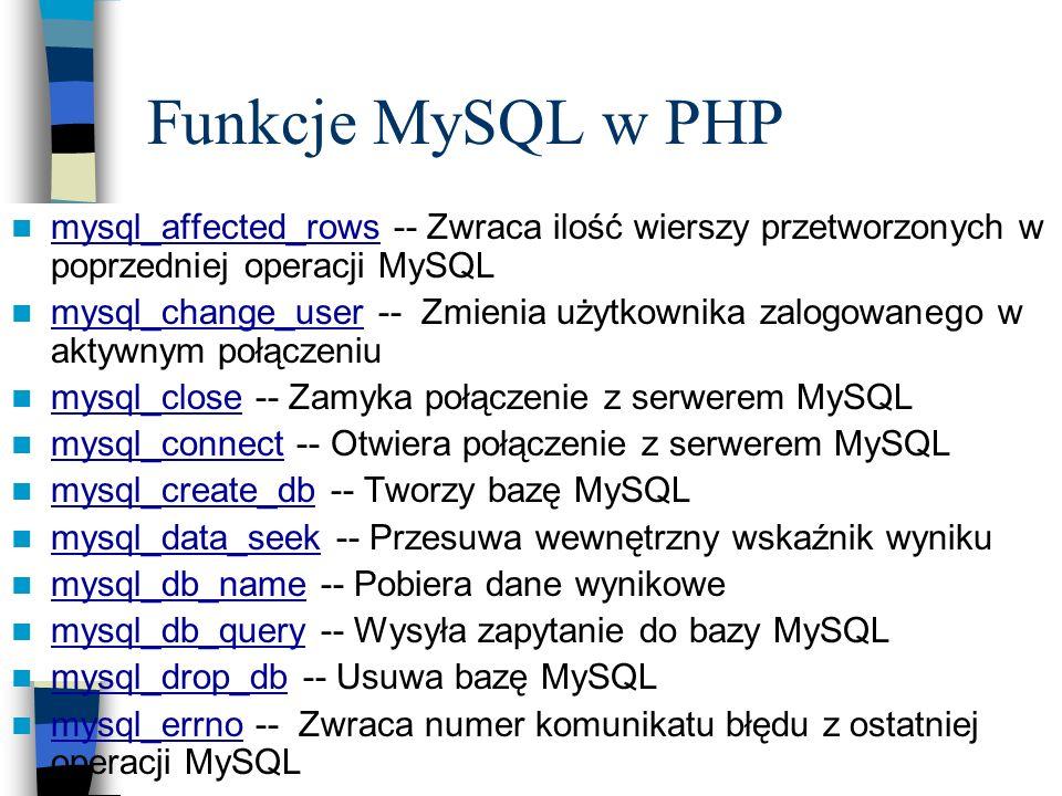 Funkcje MySQL w PHP mysql_affected_rows -- Zwraca ilość wierszy przetworzonych w poprzedniej operacji MySQL mysql_affected_rows mysql_change_user -- Z