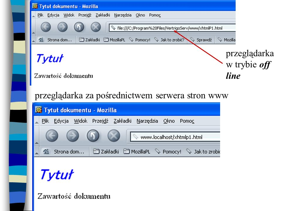 przeglądarka w trybie off line przeglądarka za pośrednictwem serwera stron www