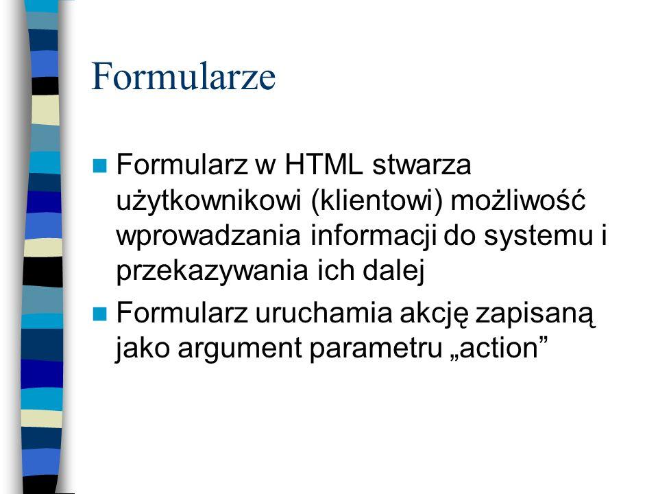 Formularze Formularz w HTML stwarza użytkownikowi (klientowi) możliwość wprowadzania informacji do systemu i przekazywania ich dalej Formularz urucham