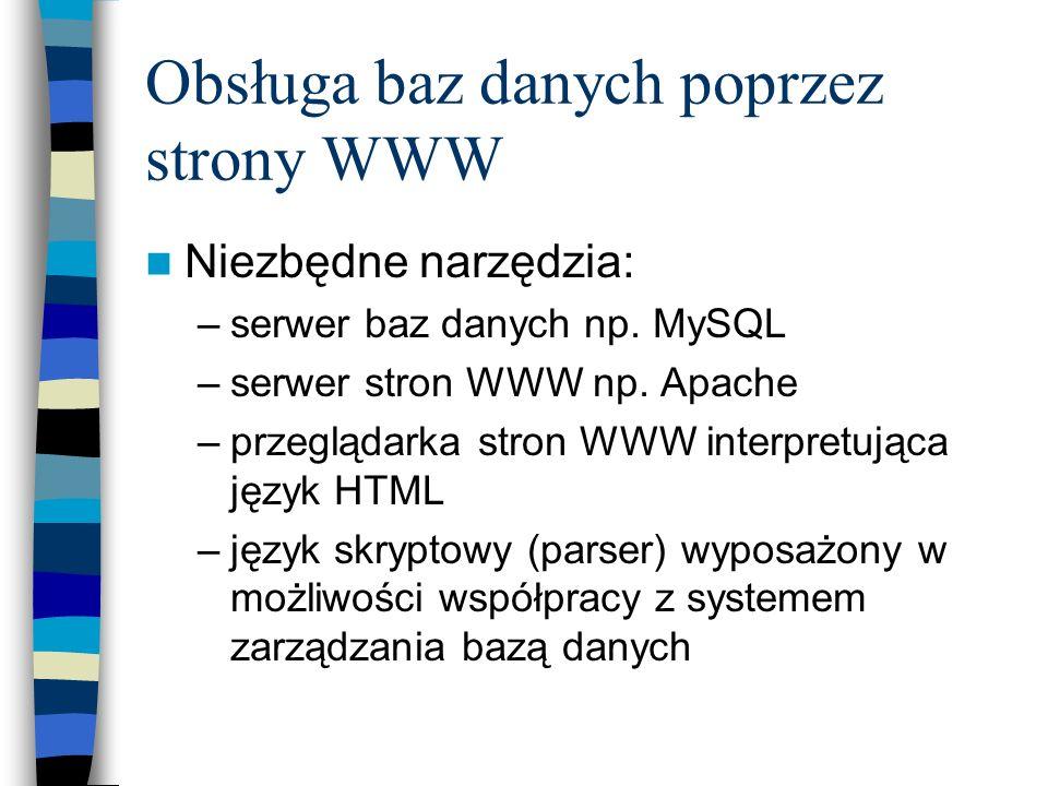 Obsługa baz danych poprzez strony WWW Niezbędne narzędzia: –serwer baz danych np. MySQL –serwer stron WWW np. Apache –przeglądarka stron WWW interpret