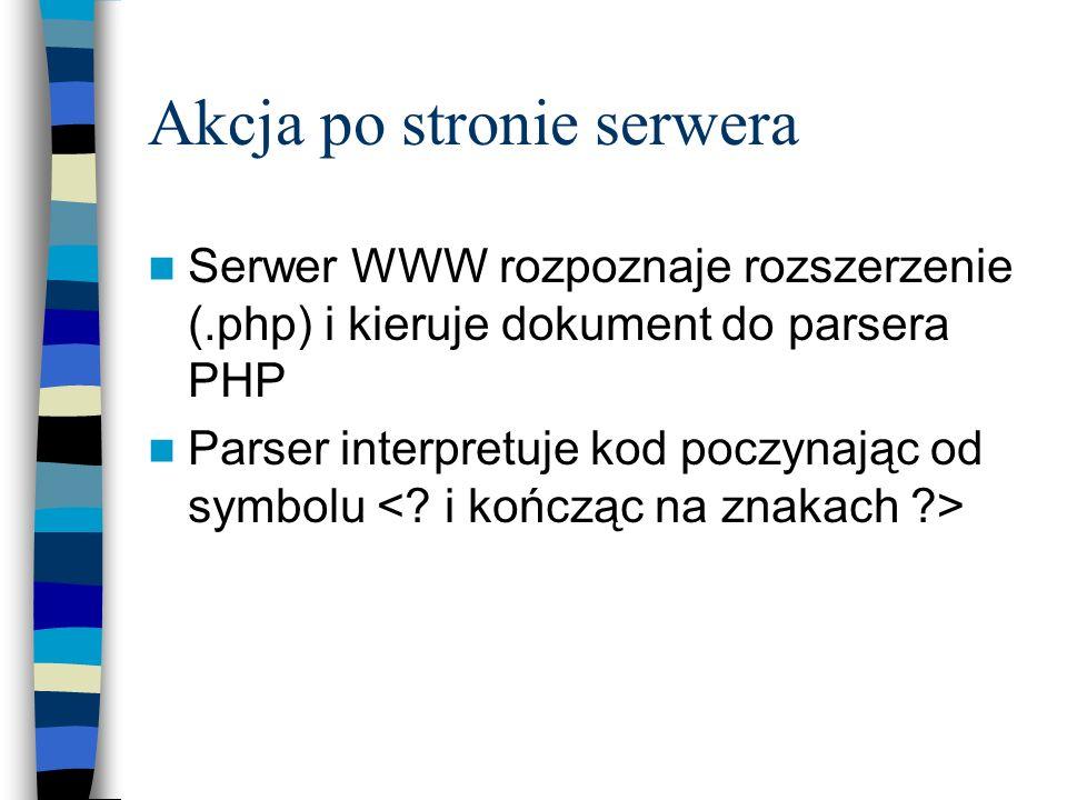 Akcja po stronie serwera Serwer WWW rozpoznaje rozszerzenie (.php) i kieruje dokument do parsera PHP Parser interpretuje kod poczynając od symbolu