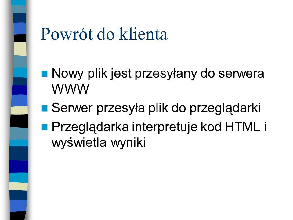 Powrót do klienta Nowy plik jest przesyłany do serwera WWW Serwer przesyła plik do przeglądarki Przeglądarka interpretuje kod HTML i wyświetla wyniki