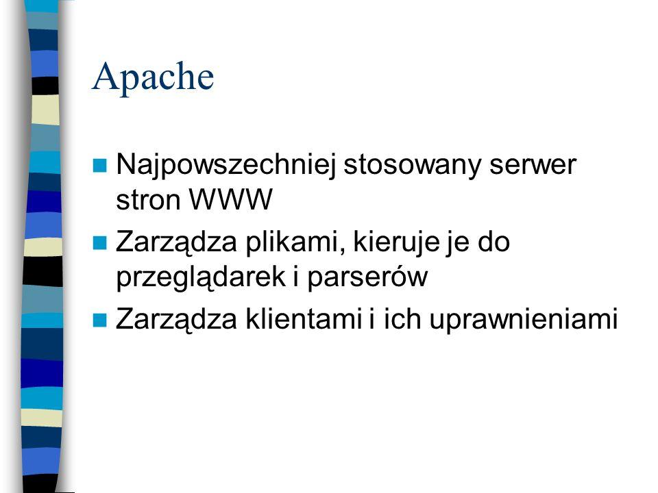 Apache Najpowszechniej stosowany serwer stron WWW Zarządza plikami, kieruje je do przeglądarek i parserów Zarządza klientami i ich uprawnieniami