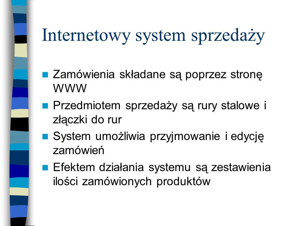 Internetowy system sprzedaży Zamówienia składane są poprzez stronę WWW Przedmiotem sprzedaży są rury stalowe i złączki do rur System umożliwia przyjmo