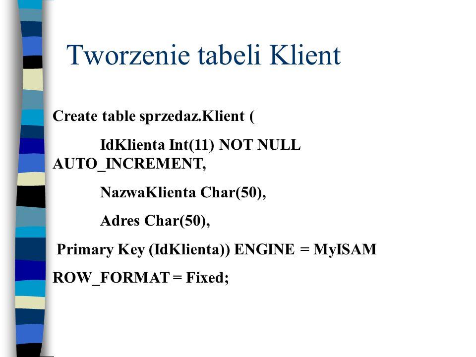 Tworzenie tabeli Klient Create table sprzedaz.Klient ( IdKlienta Int(11) NOT NULL AUTO_INCREMENT, NazwaKlienta Char(50), Adres Char(50), Primary Key (