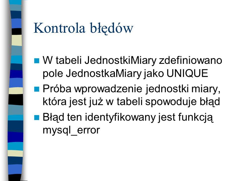 Kontrola błędów W tabeli JednostkiMiary zdefiniowano pole JednostkaMiary jako UNIQUE Próba wprowadzenie jednostki miary, która jest już w tabeli spowo