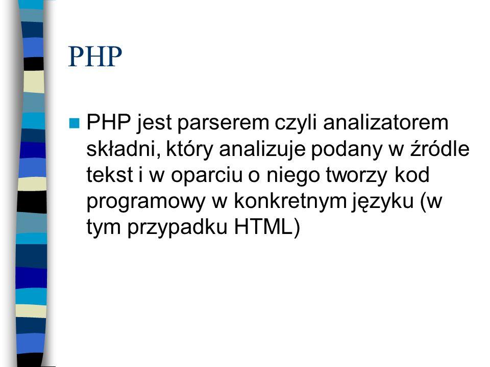PHP PHP jest parserem czyli analizatorem składni, który analizuje podany w źródle tekst i w oparciu o niego tworzy kod programowy w konkretnym języku