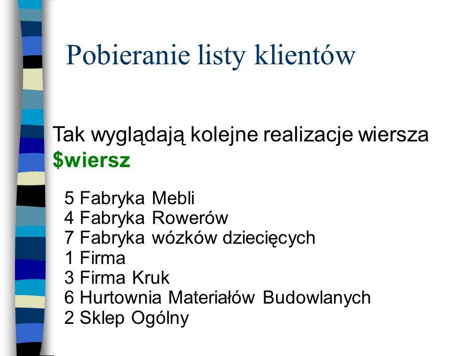 Pobieranie listy klientów 5 Fabryka Mebli 4 Fabryka Rowerów 7 Fabryka wózków dziecięcych 1 Firma 3 Firma Kruk 6 Hurtownia Materiałów Budowlanych 2 Skl