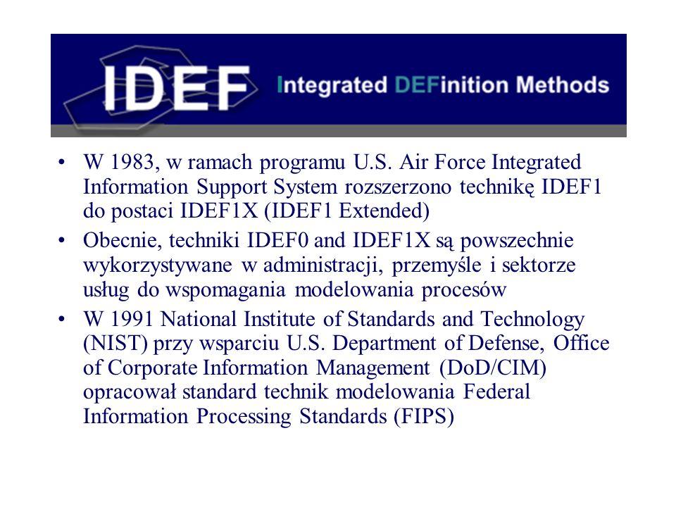 W 1983, w ramach programu U.S. Air Force Integrated Information Support System rozszerzono technikę IDEF1 do postaci IDEF1X (IDEF1 Extended) Obecnie,