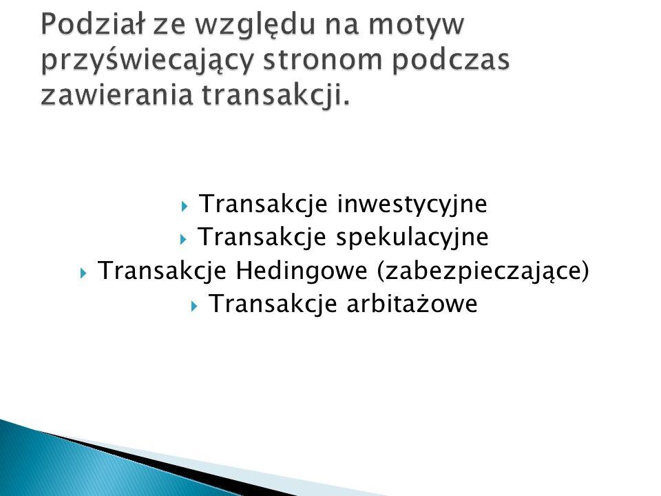 Transakcje inwestycyjne Transakcje spekulacyjne Transakcje Hedingowe (zabezpieczające) Transakcje arbitażowe