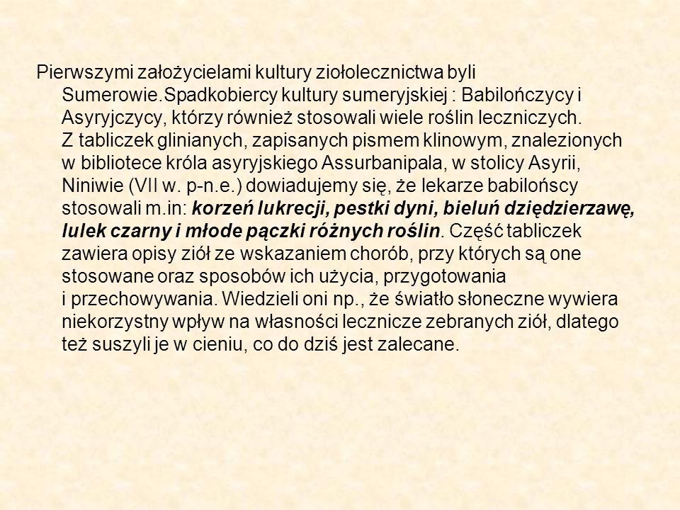 Pierwszymi założycielami kultury ziołolecznictwa byli Sumerowie.Spadkobiercy kultury sumeryjskiej : Babilończycy i Asyryjczycy, którzy również stosowa