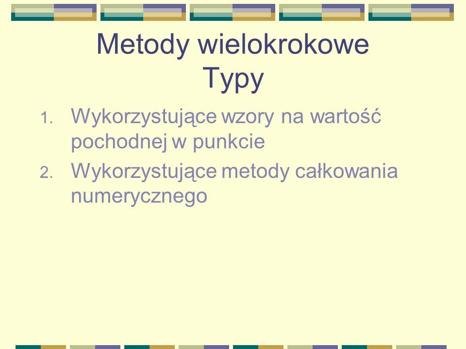 Metody wielokrokowe Typy 1. Wykorzystujące wzory na wartość pochodnej w punkcie 2. Wykorzystujące metody całkowania numerycznego