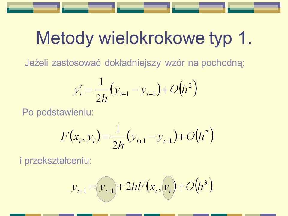 Metody wielokrokowe typ 1. Jeżeli zastosować dokładniejszy wzór na pochodną: Po podstawieniu: i przekształceniu: