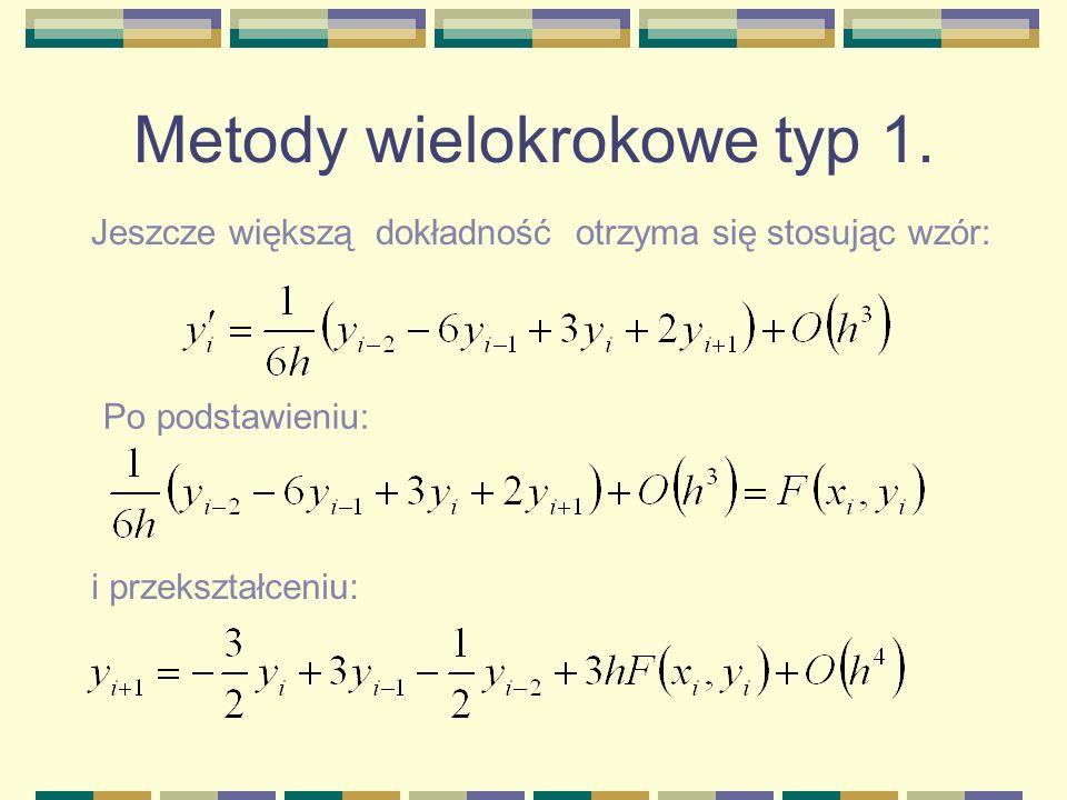 Metody wielokrokowe typ 1. Jeszcze większą dokładność otrzyma się stosując wzór: Po podstawieniu: i przekształceniu: