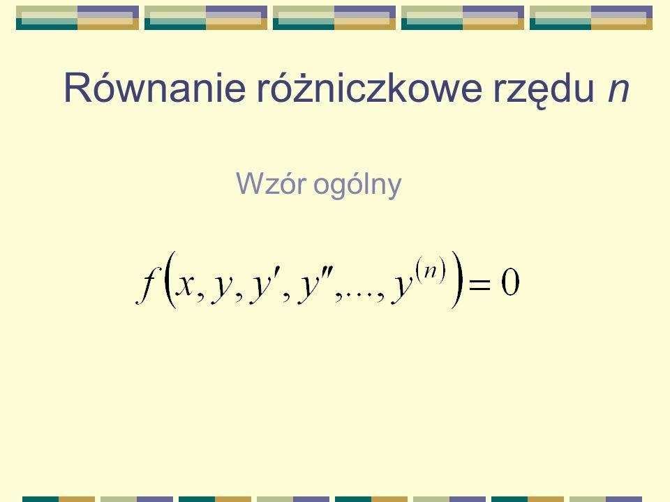 Równanie różniczkowe rzędu n Wzór ogólny