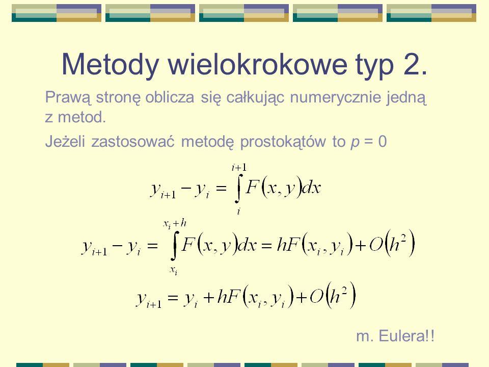 Metody wielokrokowe typ 2. Prawą stronę oblicza się całkując numerycznie jedną z metod. Jeżeli zastosować metodę prostokątów to p = 0 m. Eulera!!