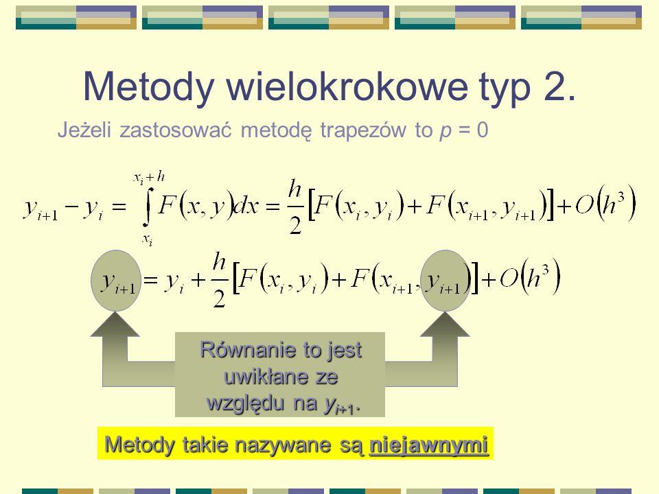Metody wielokrokowe typ 2. Jeżeli zastosować metodę trapezów to p = 0 Równanie to jest uwikłane ze względu na y i+1. względu na y i+1. Metody takie na