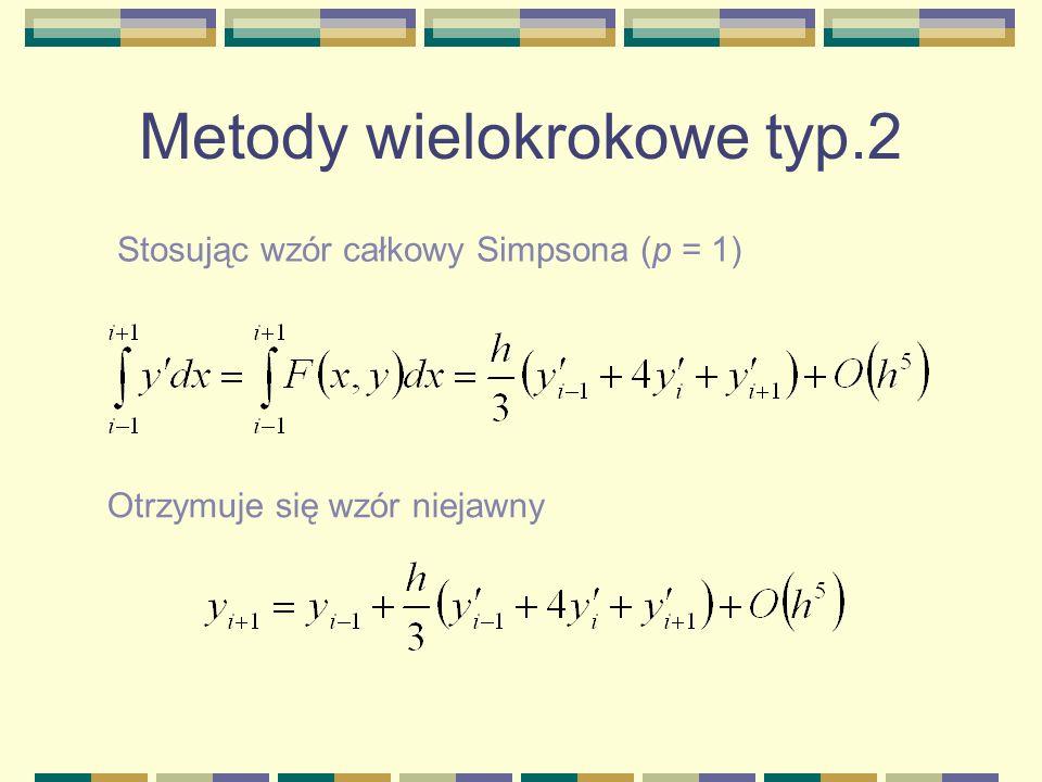 Metody wielokrokowe typ.2 Stosując wzór całkowy Simpsona (p = 1) Otrzymuje się wzór niejawny