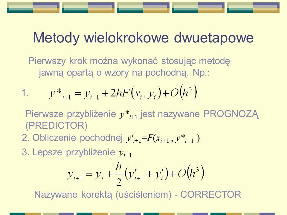 Metody wielokrokowe dwuetapowe Pierwszy krok można wykonać stosując metodę jawną opartą o wzory na pochodną. Np.: 1. Pierwsze przybliżenie y* i+1 jest