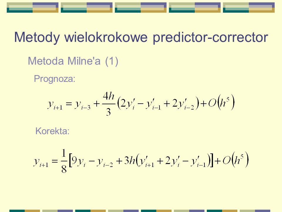 Metoda Milne'a (1) Metody wielokrokowe predictor-corrector Prognoza: Korekta: