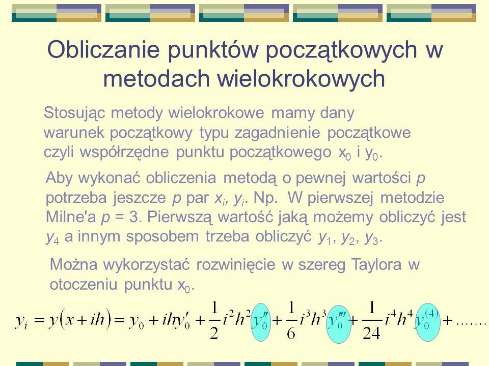 Obliczanie punktów początkowych w metodach wielokrokowych Stosując metody wielokrokowe mamy dany warunek początkowy typu zagadnienie początkowe czyli