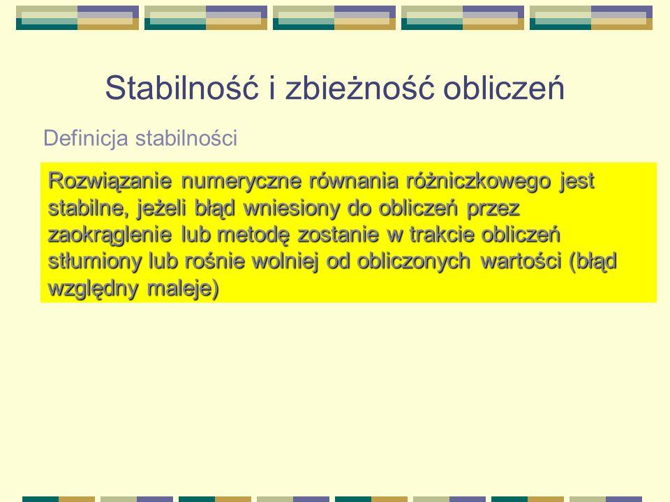 Stabilność i zbieżność obliczeń Definicja stabilności Rozwiązanie numeryczne równania różniczkowego jest stabilne, jeżeli błąd wniesiony do obliczeń p