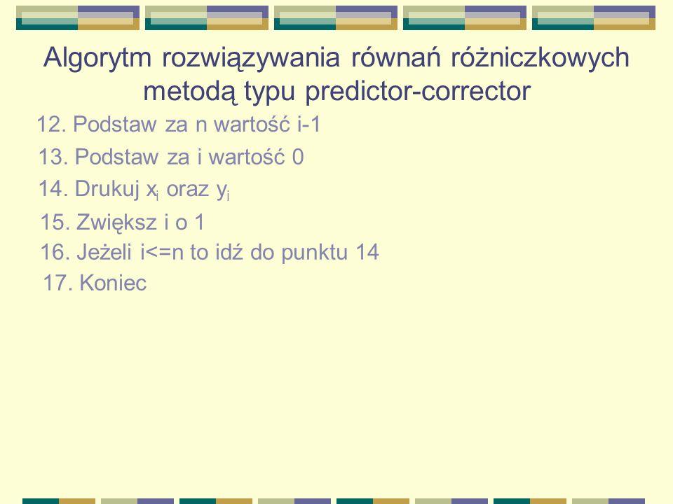 Algorytm rozwiązywania równań różniczkowych metodą typu predictor-corrector 12. Podstaw za n wartość i-1 13. Podstaw za i wartość 0 14. Drukuj x i ora