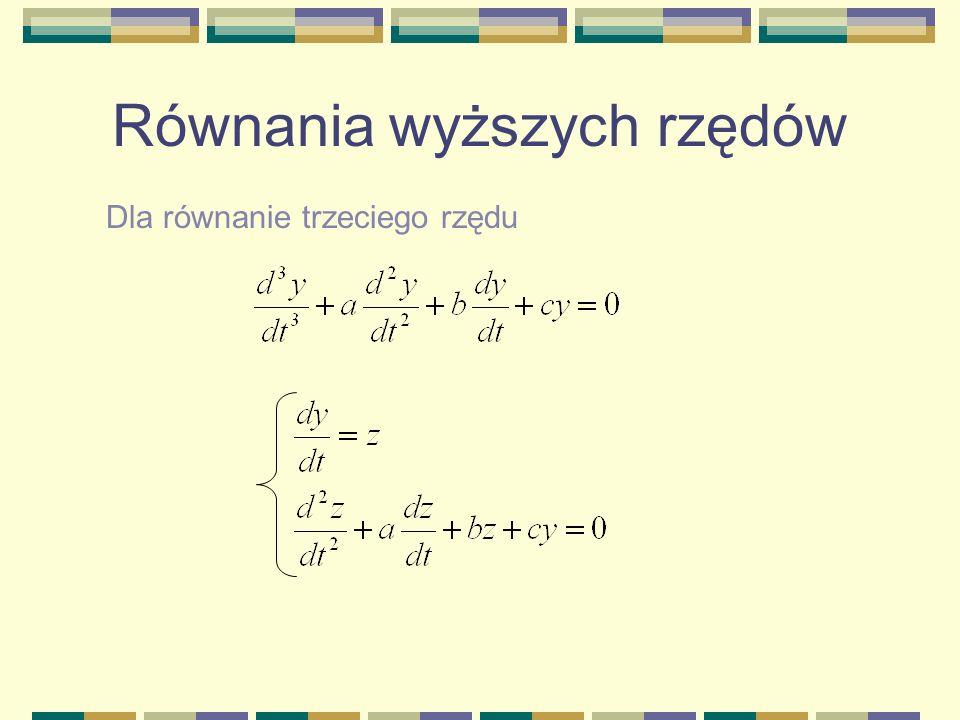 Równania wyższych rzędów Dla równanie trzeciego rzędu