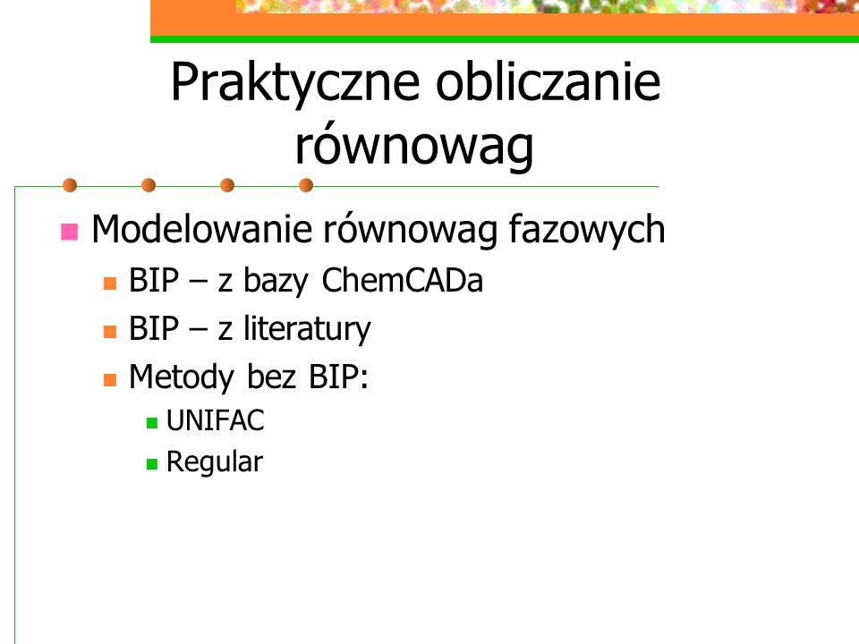 Praktyczne obliczanie równowag Modelowanie równowag fazowych BIP – z bazy ChemCADa BIP – z literatury Metody bez BIP: UNIFAC Regular