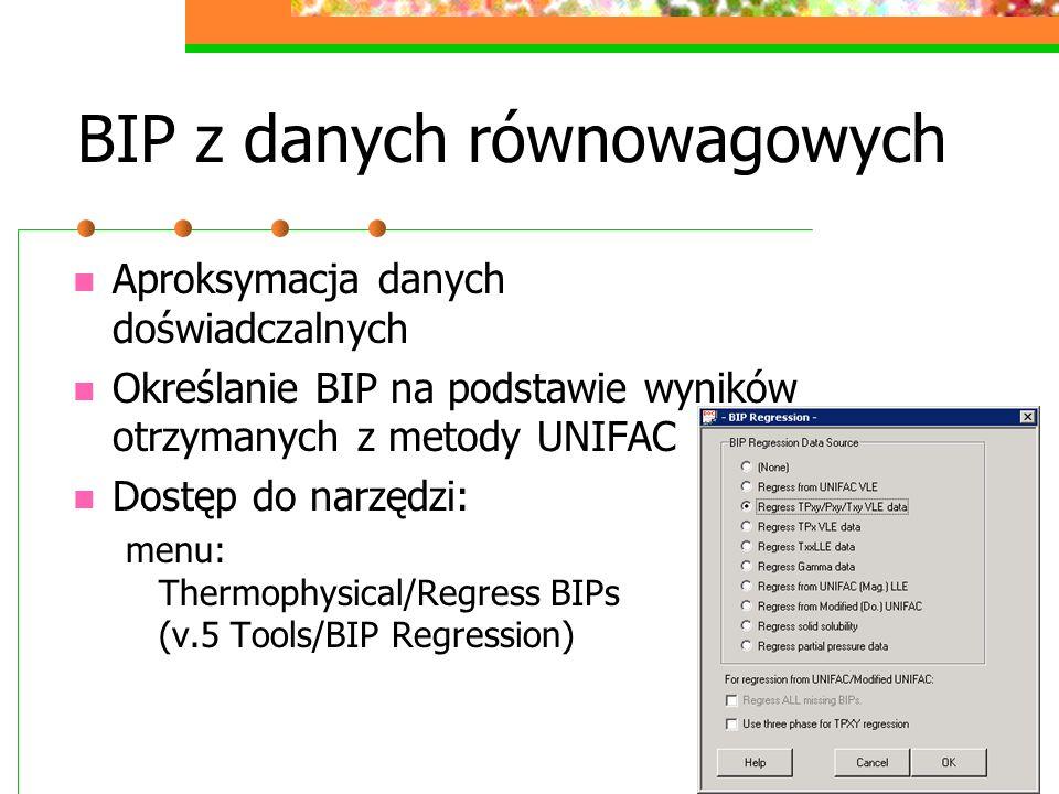 BIP z danych równowagowych Aproksymacja danych doświadczalnych Określanie BIP na podstawie wyników otrzymanych z metody UNIFAC Dostęp do narzędzi: menu: Thermophysical/Regress BIPs (v.5 Tools/BIP Regression)