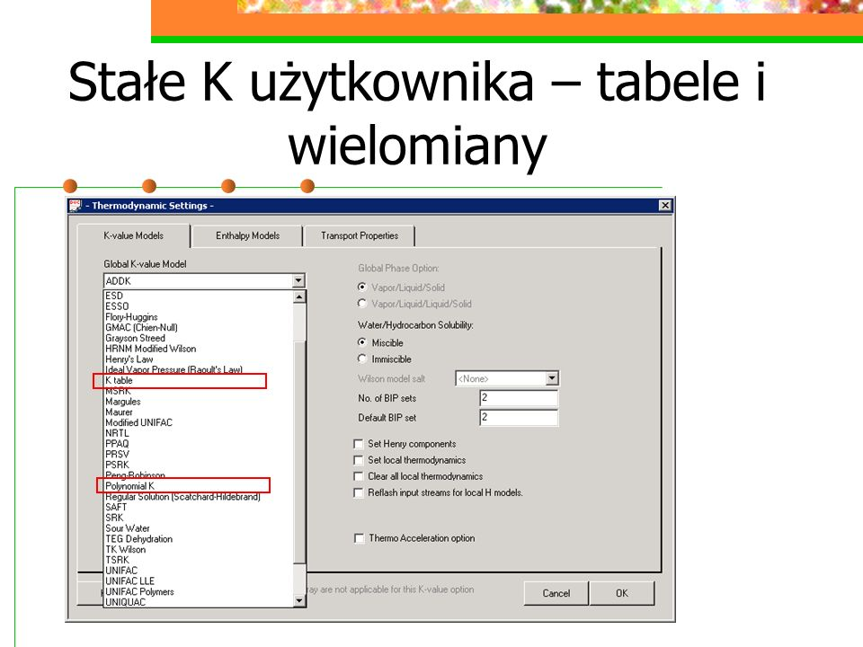 Stałe K użytkownika – tabele i wielomiany