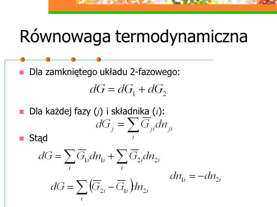 Równowaga termodynamiczna Dla zamkniętego układu 2-fazowego: Dla każdej fazy ( j ) i składnika ( i ): Stąd
