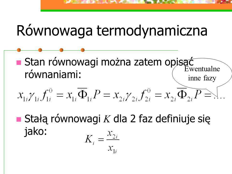 Równowaga termodynamiczna Stan równowagi można zatem opisać równaniami: Stałą równowagi K dla 2 faz definiuje się jako: Ewentualne inne fazy
