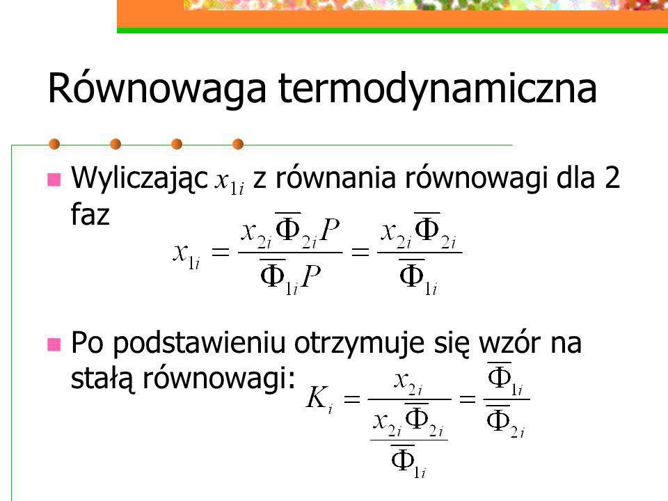 Równowaga termodynamiczna Wyliczając x 1i z równania równowagi dla 2 faz Po podstawieniu otrzymuje się wzór na stałą równowagi: