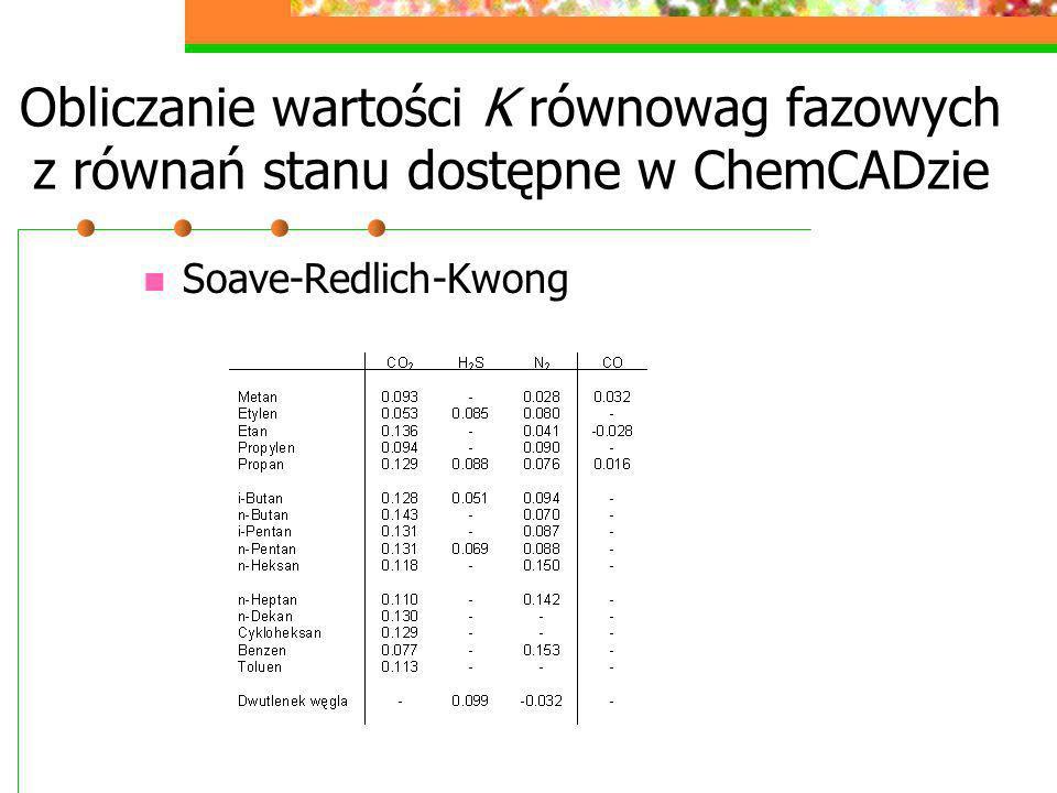 Soave-Redlich-Kwong Obliczanie wartości K równowag fazowych z równań stanu dostępne w ChemCADzie