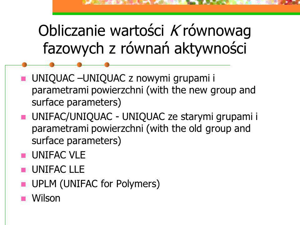 Obliczanie wartości K równowag fazowych z równań aktywności UNIQUAC –UNIQUAC z nowymi grupami i parametrami powierzchni (with the new group and surfac