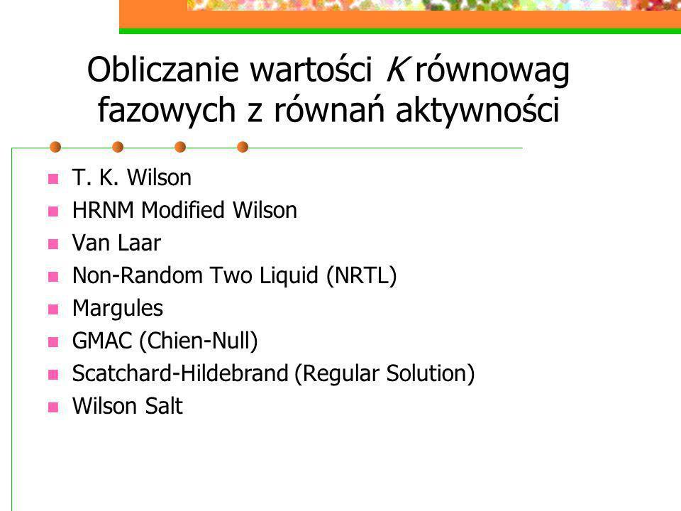 Obliczanie wartości K równowag fazowych z równań aktywności T. K. Wilson HRNM Modified Wilson Van Laar Non-Random Two Liquid (NRTL) Margules GMAC (Chi