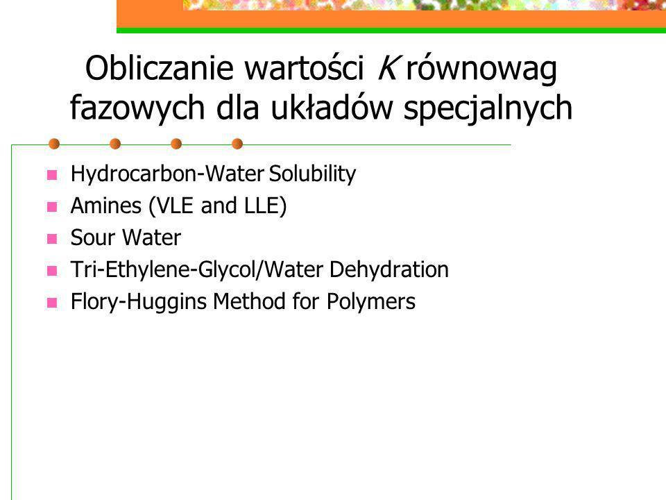 Obliczanie wartości K równowag fazowych dla układów specjalnych Hydrocarbon-Water Solubility Amines (VLE and LLE) Sour Water Tri-Ethylene-Glycol/Water