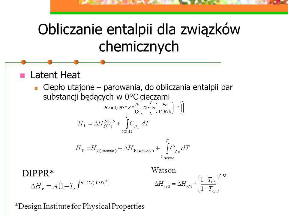 Obliczanie entalpii dla związków chemicznych Latent Heat Ciepło utajone – parowania, do obliczania entalpii par substancji będących w 0°C cieczami DIP