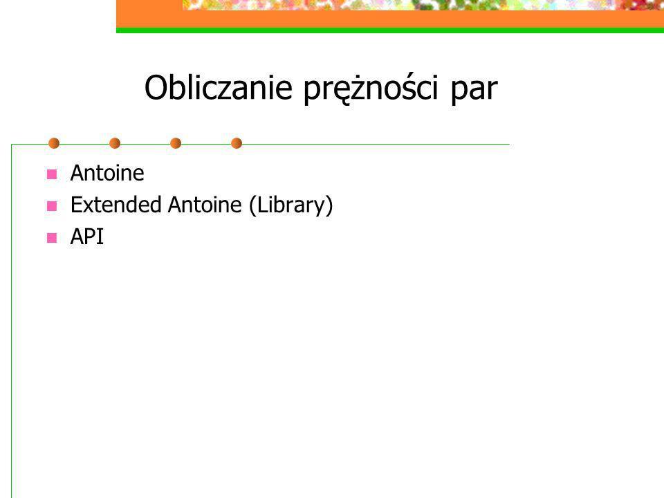 Obliczanie prężności par Antoine Extended Antoine (Library) API