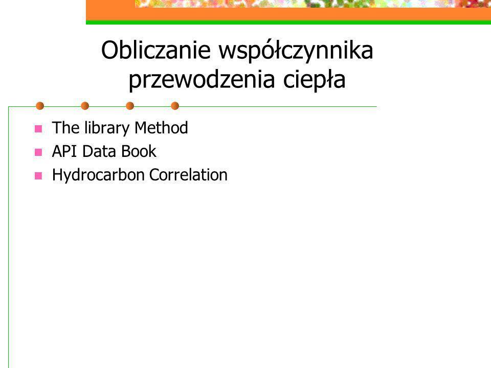Obliczanie współczynnika przewodzenia ciepła The library Method API Data Book Hydrocarbon Correlation