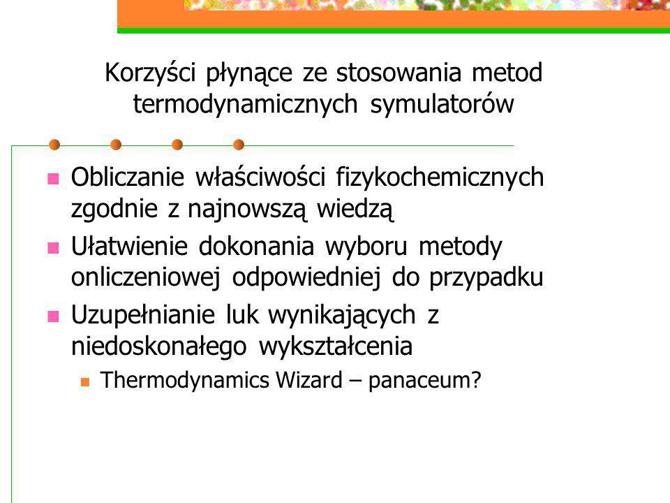 Korzyści płynące ze stosowania metod termodynamicznych symulatorów Obliczanie właściwości fizykochemicznych zgodnie z najnowszą wiedzą Ułatwienie doko