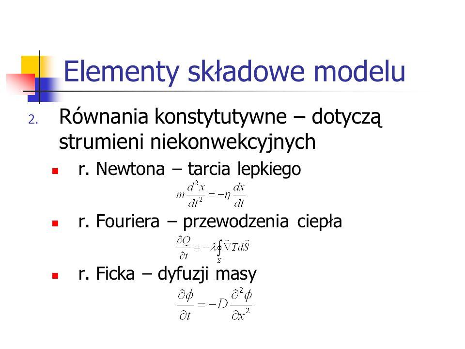 Elementy składowe modelu 2. Równania konstytutywne – dotyczą strumieni niekonwekcyjnych r. Newtona – tarcia lepkiego r. Fouriera – przewodzenia ciepła