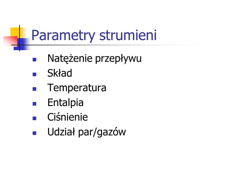 Parametry strumieni Natężenie przepływu Skład Temperatura Entalpia Ciśnienie Udział par/gazów