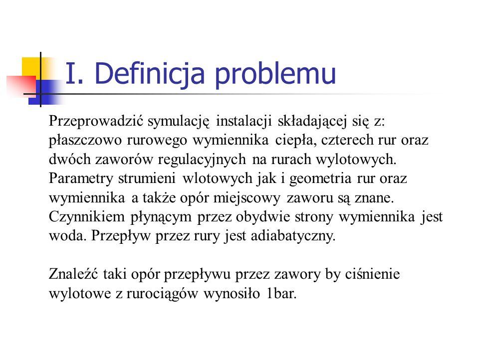 I. Definicja problemu Przeprowadzić symulację instalacji składającej się z: płaszczowo rurowego wymiennika ciepła, czterech rur oraz dwóch zaworów reg