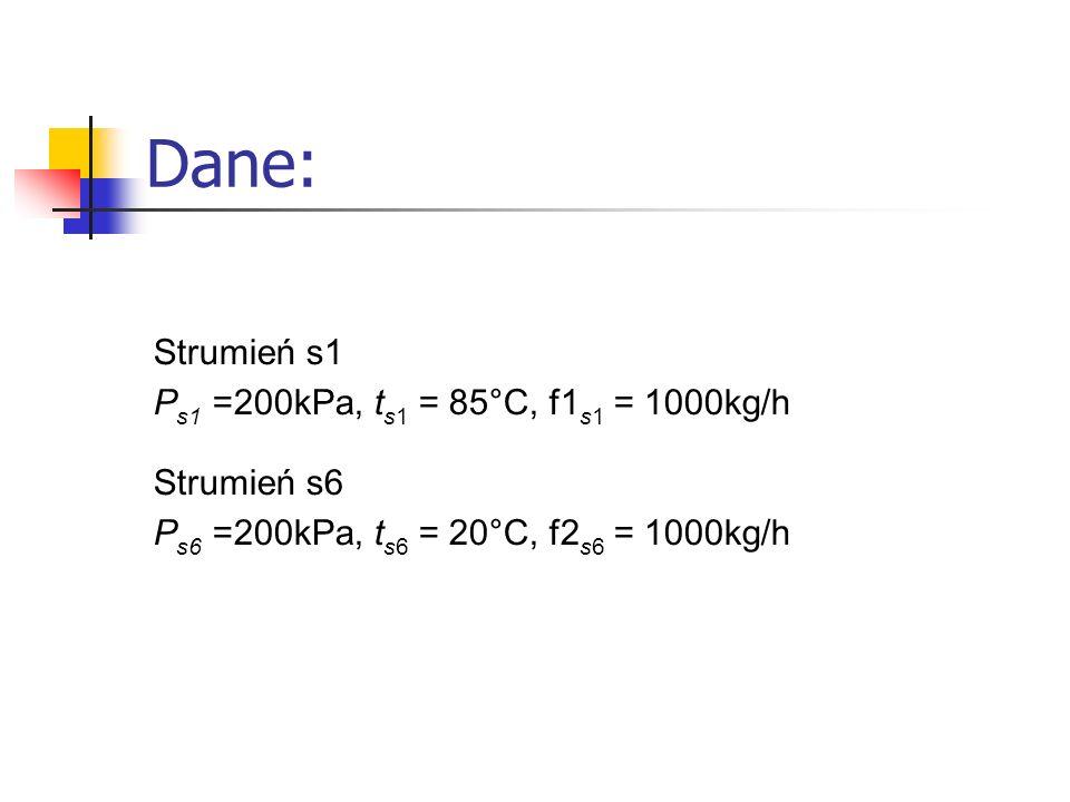Strumień s1 P s1 =200kPa, t s1 = 85°C, f1 s1 = 1000kg/h Strumień s6 P s6 =200kPa, t s6 = 20°C, f2 s6 = 1000kg/h Dane: