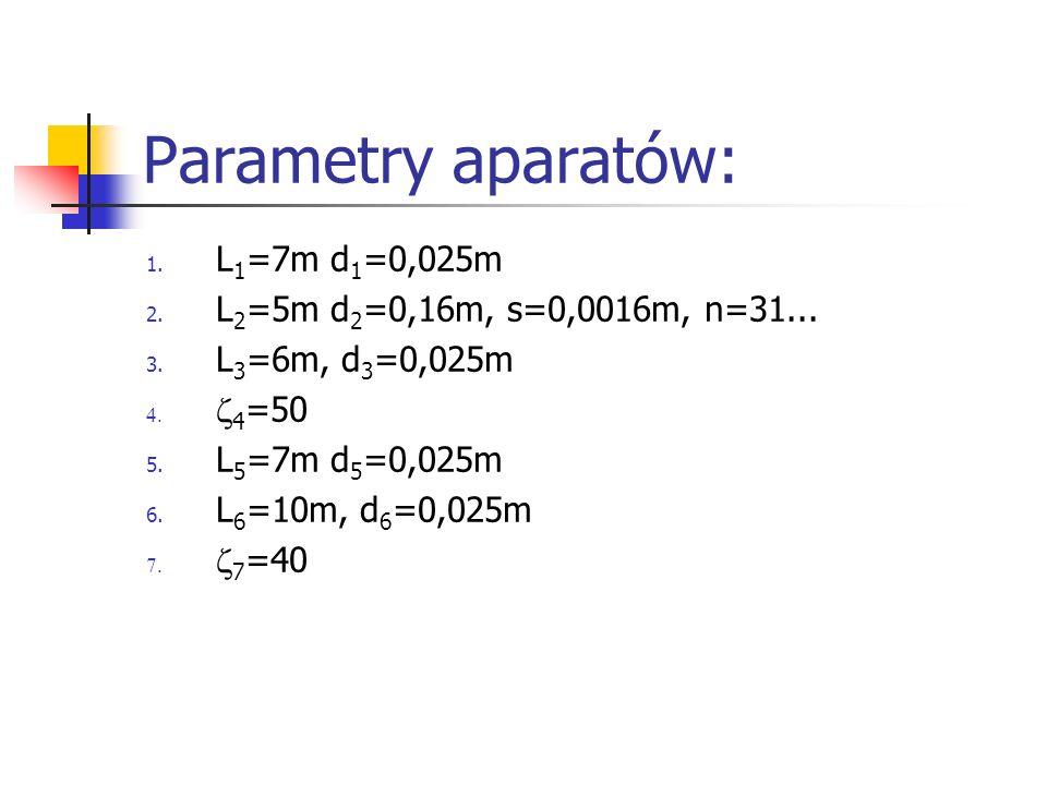 Parametry aparatów: 1. L 1 =7m d 1 =0,025m 2. L 2 =5m d 2 =0,16m, s=0,0016m, n=31... 3. L 3 =6m, d 3 =0,025m 4 =50 5. L 5 =7m d 5 =0,025m 6. L 6 =10m,