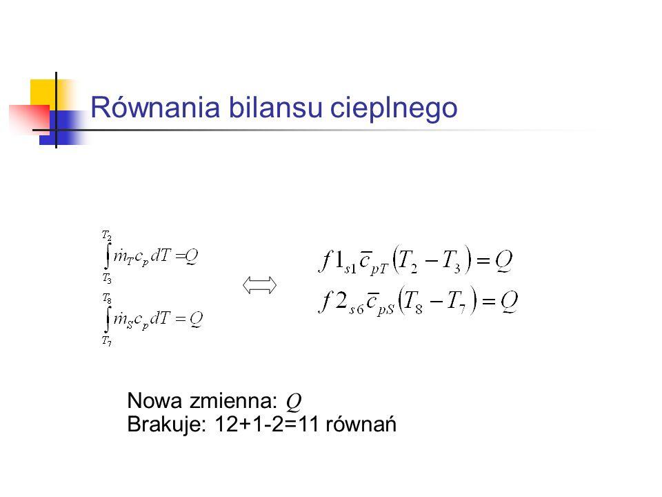 Równania bilansu cieplnego Nowa zmienna: Q Brakuje: 12+1-2=11 równań