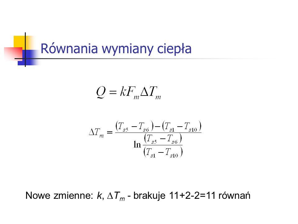 Równania wymiany ciepła Nowe zmienne: k, T m - brakuje 11+2-2=11 równań